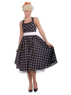 50's Cutie dress costume black with white dots for fancy dress party