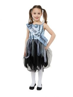 BLOODY PROM QUEEN BLACK WHITE CHILD DRESS HALLOWEEN FANCY DRESS COSTUME 3 SIZES