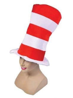 Adult Red / White Striped Top Hat