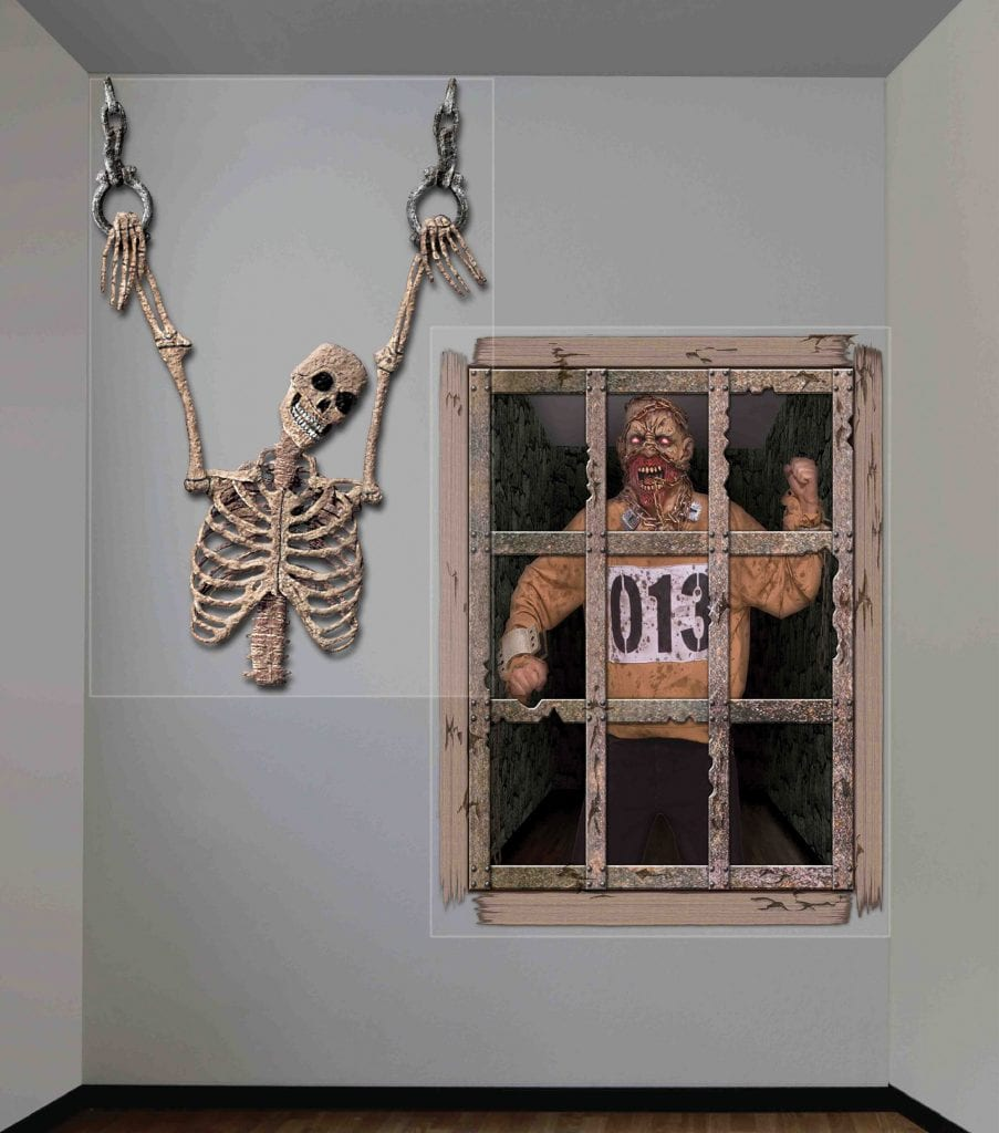 gruesome dungeon giant wall decor halloween party. Black Bedroom Furniture Sets. Home Design Ideas