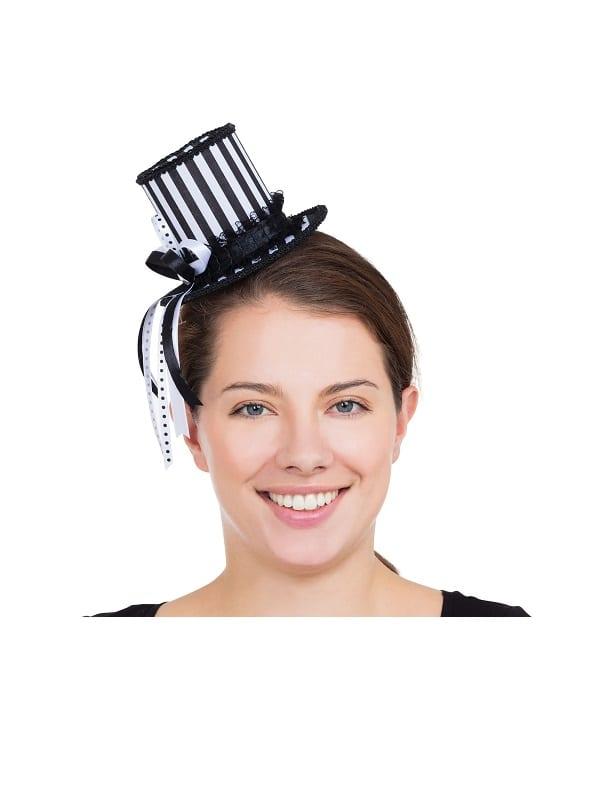 Harlequin Striped Mini Tall Hat