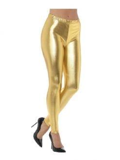 1980s Metallic Disco Leggings Gold
