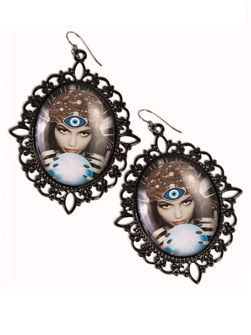 Fortune Teller Cameo Earrings