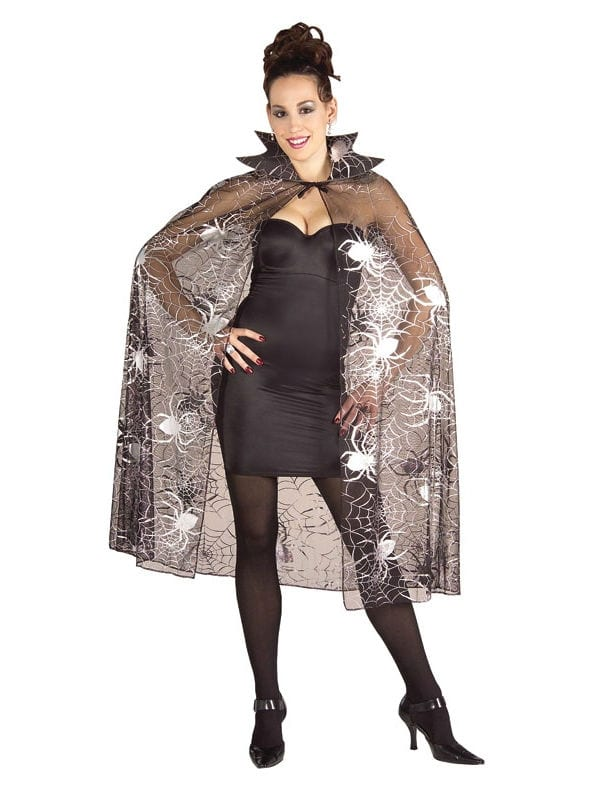 CAPE Sheer with Shiny Silvery Spider Web Pattern Adult Fancy Dress Costume