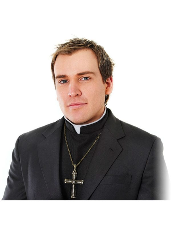 Mens Priest Shirt With Collar Fancy Dress Costume Vicar