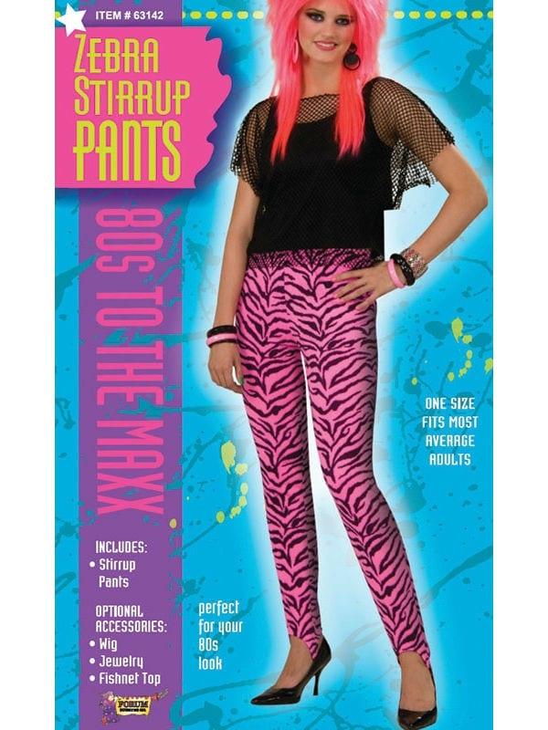 1980s Zebra Print Female Pants Trousers Rock Star Adult One Size Fancy Dress Costume
