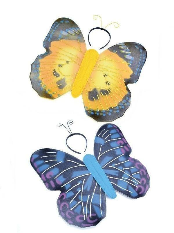 BUTTERFLY KITS WINGS & ANTENNAE BLUE/YELLOW FANCY DRESS