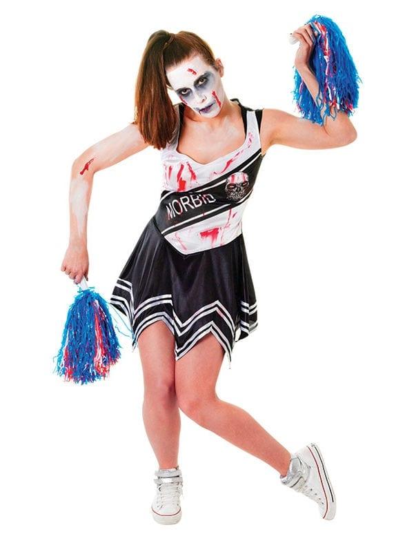 Zombie Cheerleader Halloween Costume For Girls.Zombie Cheerleaders Black White