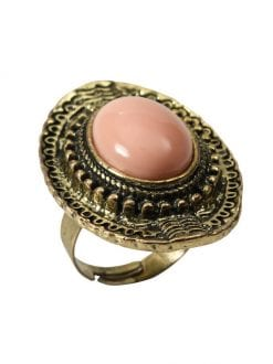 ADJUSTABLE LADY MEDIEVAL PINK STONE RING FOR FANCY DRESS PARTY ACCESSORY