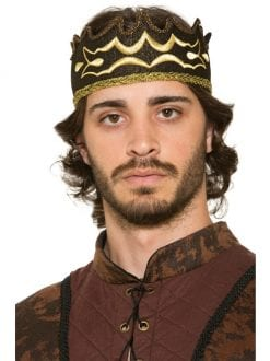 ADULT MALE MEDIEVAL BLACK KINGS CROWN FOR FANCY DRESS PARTY