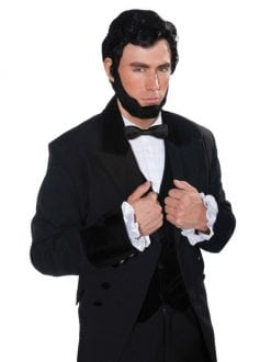 BLACK LINCOLN WIG&BEARD FANCY DRESS PARTY ACCESSORY