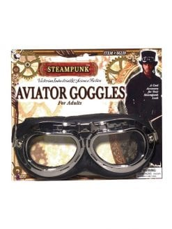 ADULT BLACK STEAMPUNK AVIATOR GOGGLES FOR FANCY DRESS PARTY