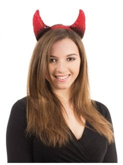 ADULT DEVIL HORNS BLACK / RED FANCY DRESS ACCESSORY