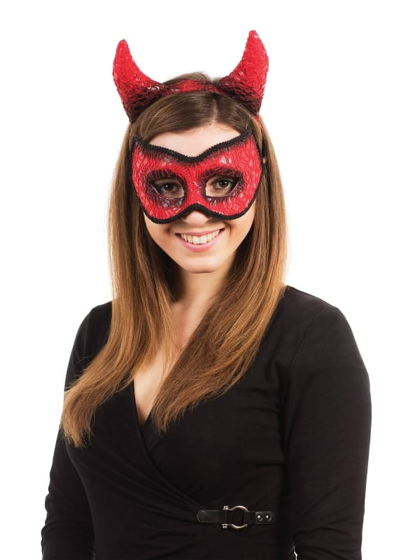 DEVIL MASK WITH HORNS ON HEADBAND FANCY DRESS COSTUME ACCESSORY