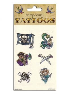 10 TEMPORARY PIRATE TATTOOS FOR FANCY DRESS ACCESSORY