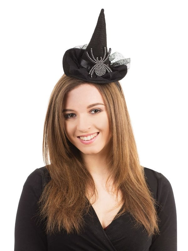 Witch Hat On Headband With Diamond Spider