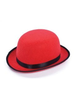 RED BOWLER HAT WITH BLACK EDGE FANCY DRESS PARTY ACCESSORY