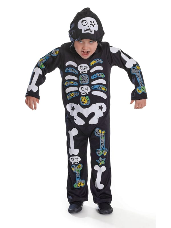 CHILD HOODED SKELETON BOY HALLOWEEN FANCY DRESS COSTUME