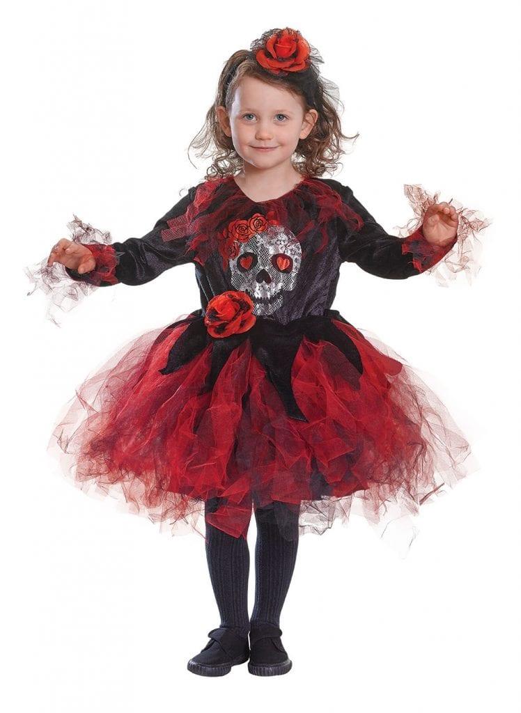 CHILD GIRLS SKULL TUTU RED / BLACK FANCY DRESS HALLOWEEN COSTUME