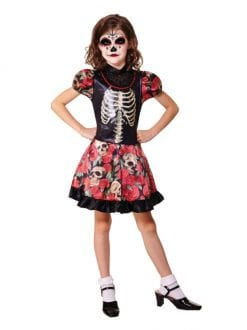 CHILD DAY OF THE DEAD GIRL HALLOWEEN FANCY DRESS COSTUME