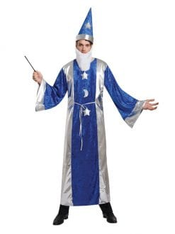 ADULT BLUE MAGICIAN ROBE AND HAT FANCY DRESS ONE SIZE COSTUME