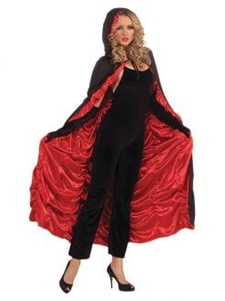 ADULT FEMALE VAMPIRE COFFIN CAPE FANCY DRESS OUTFIT