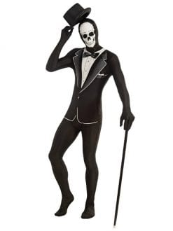 ADULT TUXEDO SKELETON DISAPPEARING MAN FANCY DRESS HALLOWEEN OUTFIT