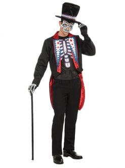 ADULT DAY OF THE DEAD LONG TAIL SUIT FANCY DRESS HALLOWEEN MENS COSTUME