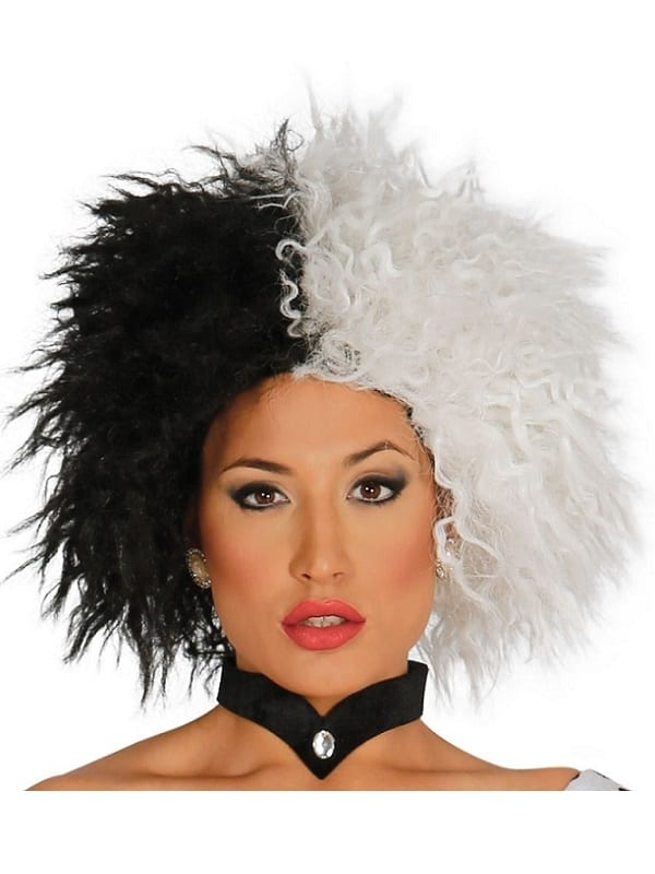 ADULT BLACK AND WHITE DOG LOVIN DIVA CRUELLA WIG FANCY DRESS HALLOWEEN ACCESSORY