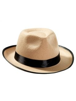 ADULT GANGSTER FEDORA BEIGE HAT FNACY DRESS 1940s ACCESSORY
