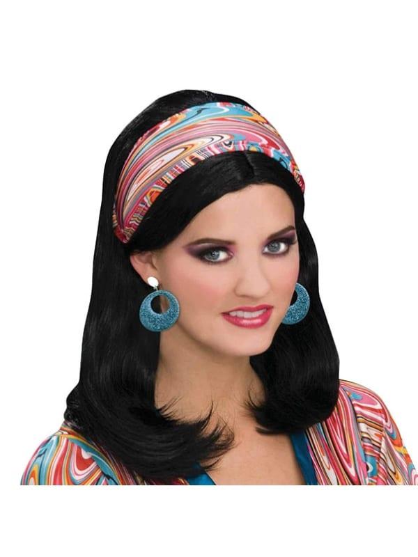 ADULT LADIES WILD SWIRL HEADBAND FANCY DRESS 1960s ACCESSORY