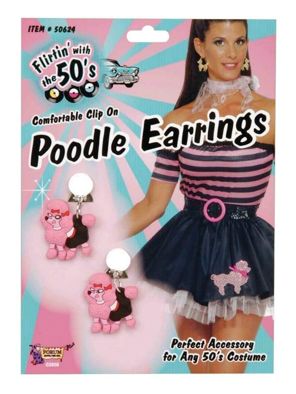 LADIES 1950s PINK POODLE EARRINGS FANCY DRESS ACCESSORY