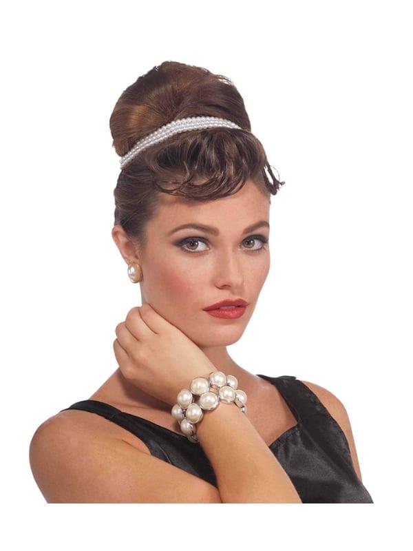 LADIES VINTAGE PEARL BRACELET FANCY DRESS 1940s ACCESSORY