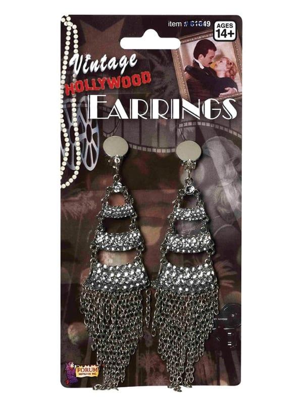 LADIES 1940s VINTAGE RHINESTONE & CHAIN EARRINGS FANCY DRESS ACCESSORY