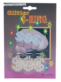 ADULT CARNIVAL GLITTER DOLLAR RING FANCY DRESS ACCESSORY
