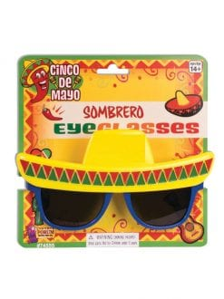 ADULT MEXICAN SOMBRERO SUNGLASSES FOR FANCY DRESS PARTY ACCESSORY