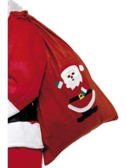 CHRISTMAS SANTA RED SACK WITH MOTIF AND DRAWSTING TIE FANCY DRESS ACCESSORY