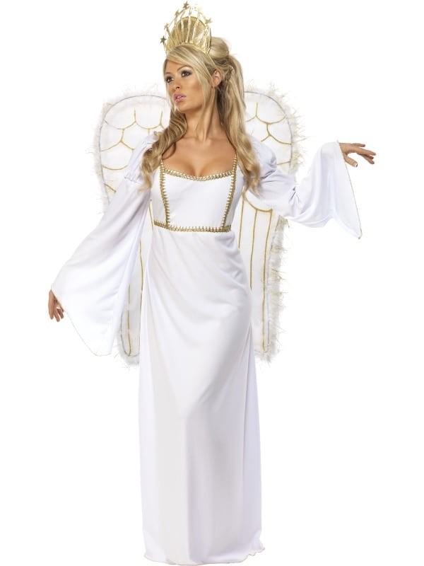 ADULT LADIES WHITE ANGEL COSTUME WITH WINGS 2 SIZES FANCY DRESS CHRISTMAS