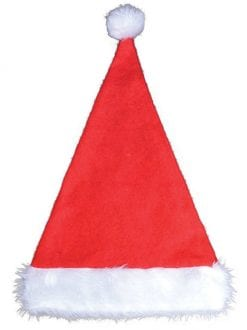 CHRISTMAS UNISEX SANTA HAT WITH FUR TRIM FANCY DRESS ACCESSORY