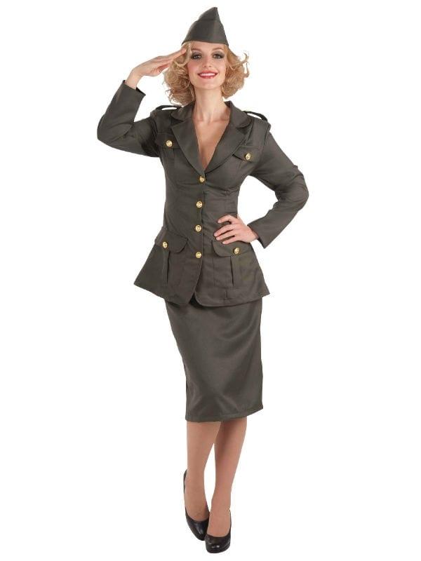 WWII ARMY GAL WOMEN SOLDIER COSTUME FANCY DRESS