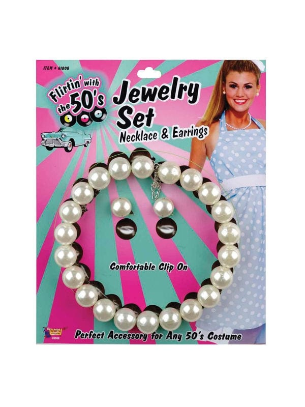 PEARL NECKLACE & EARRINGS SET 1950'S STYLE WOMEN ACCESSORY