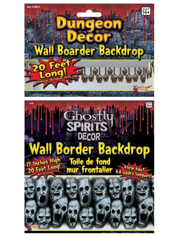 HALLOWEEN HORROR WALL BORDER BACKDROP DECORATIONS FANCY DRESS PARTY