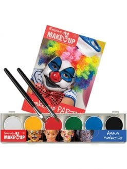 CLOWNS & CIRCUS AQUA 6 COLOUR BOX WITH BOOK FANCY DRESS MAKE UP KIT
