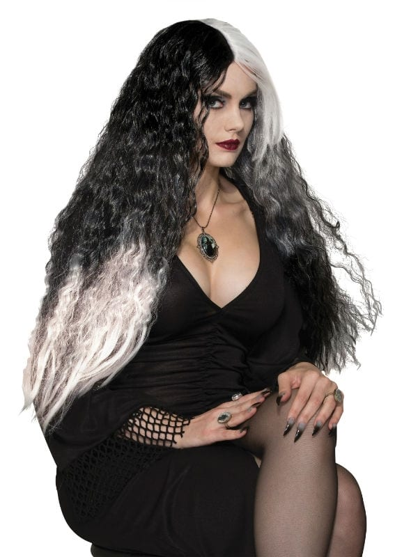WICKED MISTRESS BLACK WHITE CURLY LONG WIG HALLOWEEN PARTY ACCESSORY