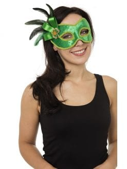 LADIES GREEN EYE MASK WITH SIDE DECORATION FANCY DRESS CARNIVAL ACCESSORY