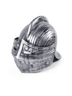 ADULT MEDIEVAL SILVER KNIGHT HELMET FANCY DRESS ACCESSORY