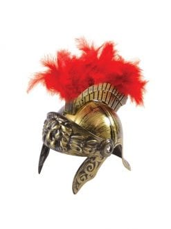 ADULT GOLD ROMAN WARRIOR HELMET WITH PLUME FANCY DRESS ACCESSORY