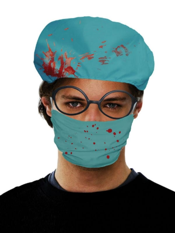 SURGEON SET BLOODY DOCTOR HAT MASK HALLOWEEN ACCESSORY ADULT