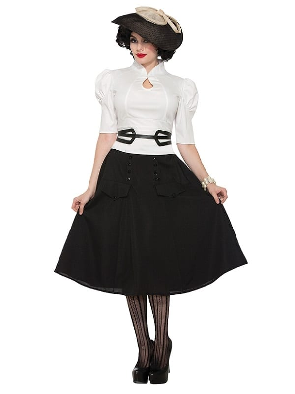 ADULT LADIES 1940s 1950s WHITE BLOUSE FANCY DRESS OUTFIT