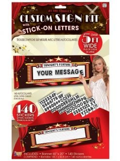 "CUSTOM SIGN KIT ""AT THE MOVIES"" SCENE STICK ON LETTERS PARTY ACCESSORY"